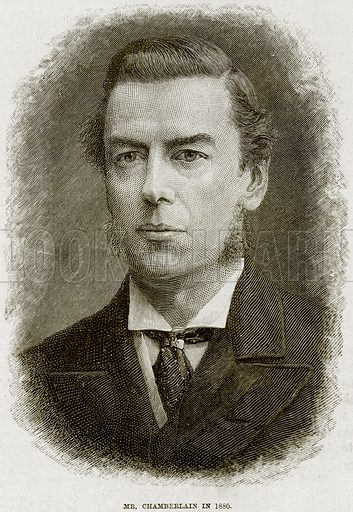 Mr Chamberlain in 1880. Illustration from The Life and Times of Queen Victoria by Robert Wilson (Cassell, 1893).