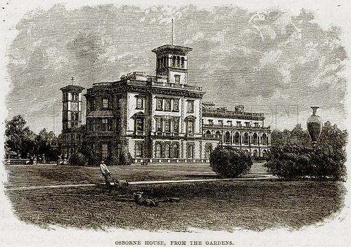 Osborne House, from The Gardens. Illustration from The Life and Times of Queen Victoria by Robert Wilson (Cassell, 1893).