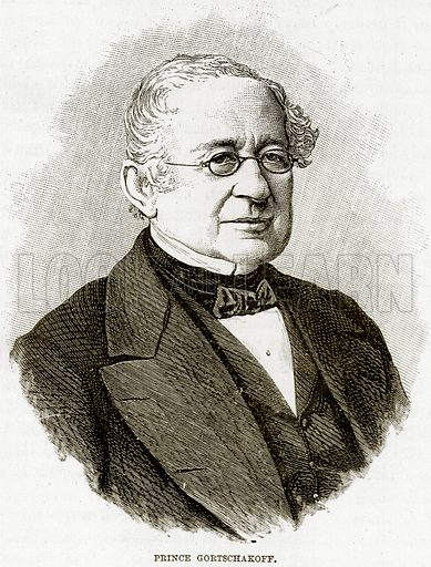 Prince Gortschakoff. Illustration from The Life and Times of Queen Victoria by Robert Wilson (Cassell, 1893).