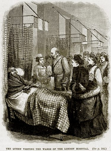 The Queen visiting the Wards of the London Hospital. Illustration from The Life and Times of Queen Victoria by Robert Wilson (Cassell, 1893).