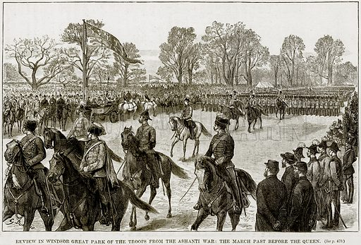 Review in Windsor Great Park of the Troops from the Ashanti War: The March past before the Queen. Illustration from The Life and Times of Queen Victoria by Robert Wilson (Cassell, 1893).