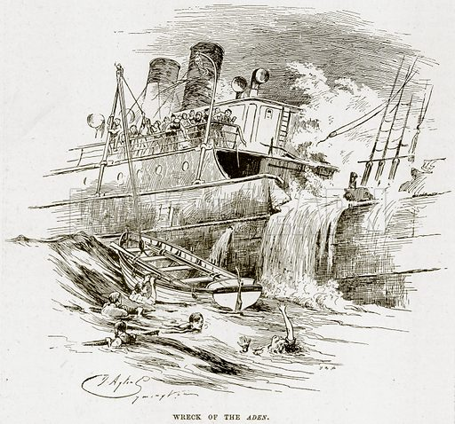 Wrack of the Aden. Illustration from The Life and Times of Queen Victoria by Robert Wilson (Cassell, 1893).
