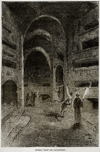 Inside View of Catacombs. Illustration from Museum of Antiquity (Western Publishing House, 1880).