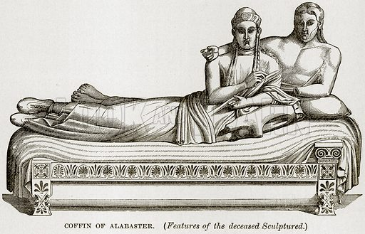 Coffin of Alabaster. (Features of the deceased Sculptured.) Illustration from Museum of Antiquity (Western Publishing House, 1880).