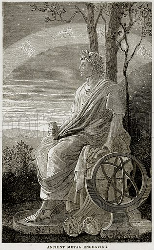 Ancient Metal Engraving. Illustration from Museum of Antiquity (Western Publishing House, 1880).