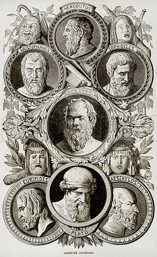 Ancient Authors. Herodotus, Aristophanes, Sophocles, Socrates, Euripides, Aeschyslos, Plato. Illustration from Museum of Antiquity (Western Publishing House, 1880).