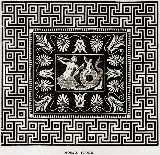 Mosaic Floor. Illustration from Museum of Antiquity (Western Publishing House, 1880).
