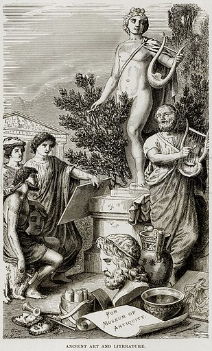 Ancient Art and Literature. Illustration from Museum of Antiquity (Western Publishing House, 1880).