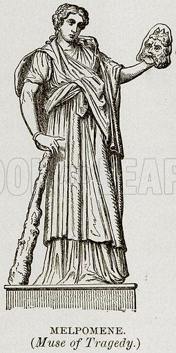 Melpomene. (Muse of Tragedy.) Illustration from Museum of Antiquity (Western Publishing House, 1880).