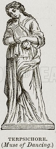 Terpsichore. (Muse of Dancing.) Illustration from Museum of Antiquity (Western Publishing House, 1880).