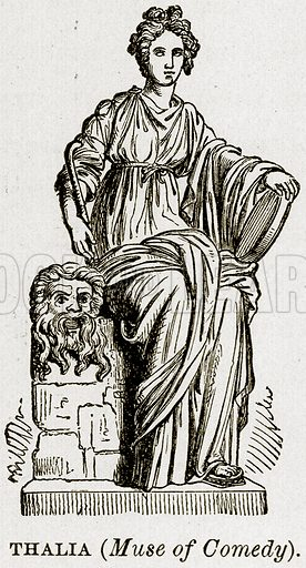 Thalia (Muse of Comedy). Illustration from Museum of Antiquity (Western Publishing House, 1880).