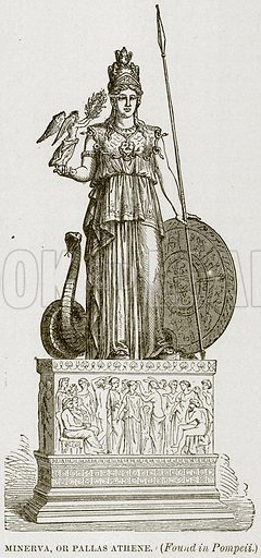 Minerva, or Pallas Athene. (Found in Pompeii.) Illustration from Museum of Antiquity (Western Publishing House, 1880).