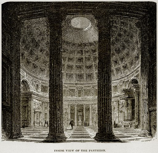 Inside View of the Pantheon. Illustration from Museum of Antiquity (Western Publishing House, 1880).
