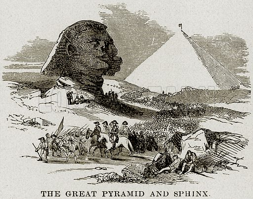 The Great Pyramid and Sphinx. Illustration from Museum of Antiquity (Western Publishing House, 1880).