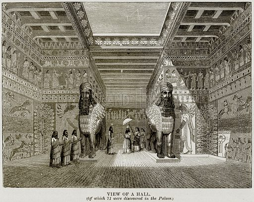 View of a Hall. (Of which 71 were discovered in the Palace). Illustration from Museum of Antiquity (Western Publishing House, 1880).