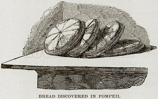 Bread discovered in Pompeii. Illustration from Museum of Antiquity (Western Publishing House, 1880).