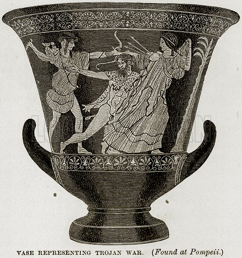 Vase representing Trojan War. (Found at Pompeii.) Illustration from Museum of Antiquity (Western Publishing House, 1880).
