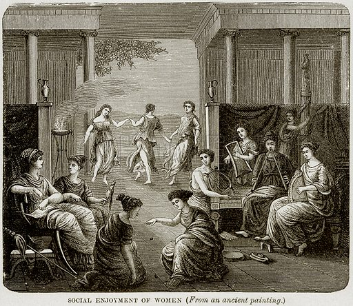 Social Enjoyment of Women. Illustration from Museum of Antiquity (Western Publishing House, 1880).