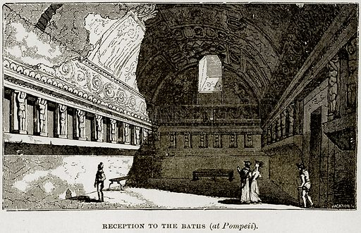 Reception to the Baths (at Pompeii). Illustration from Museum of Antiquity (Western Publishing House, 1880).
