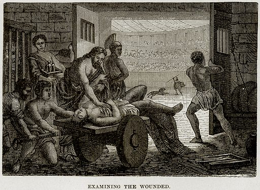 Examining the Wounded. Illustration from Museum of Antiquity (Western Publishing House, 1880).