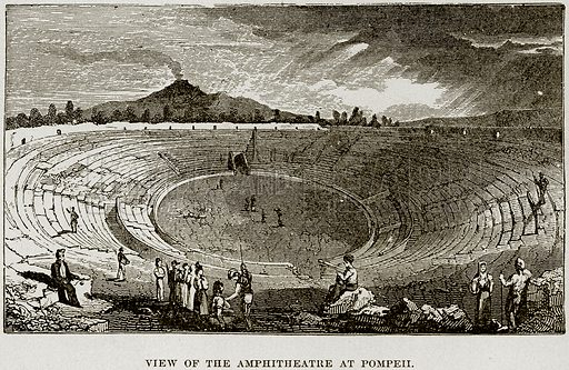 View of the Amphitheatre at Pompeii. Illustration from Museum of Antiquity (Western Publishing House, 1880).