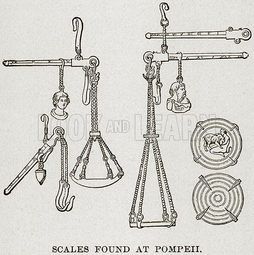 Scales found at Pompeii. Illustration from Museum of Antiquity (Western Publishing House, 1880).