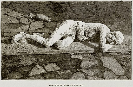 Discovered Body at Pompeii. Illustration from Museum of Antiquity (Western Publishing House, 1880).