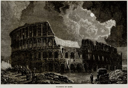 Coliseum of Rome. Illustration from Museum of Antiquity (Western Publishing House, 1880).