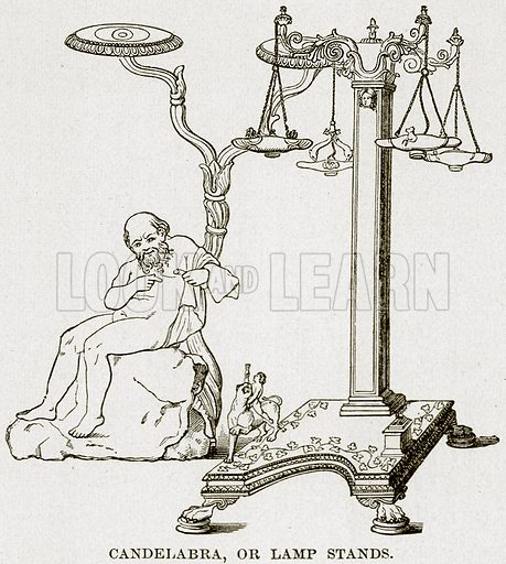 Candelabra, or Lamp Stands. Illustration from Museum of Antiquity (Western Publishing House, 1880).