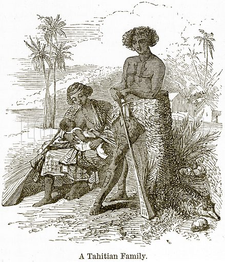 A Tahitian Family. Illustration from The World As It Is by George Chisholm (Blackie, 1884).