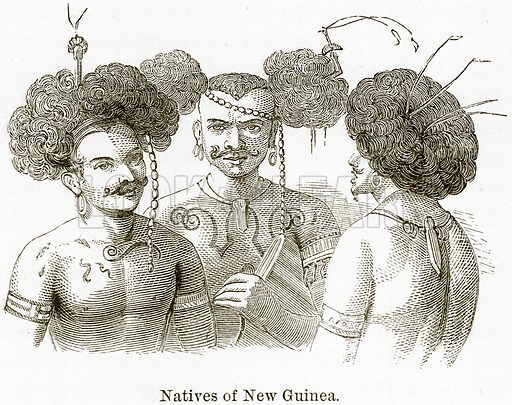 Natives of New Guinea. Illustration from The World As It Is by George Chisholm (Blackie, 1884).