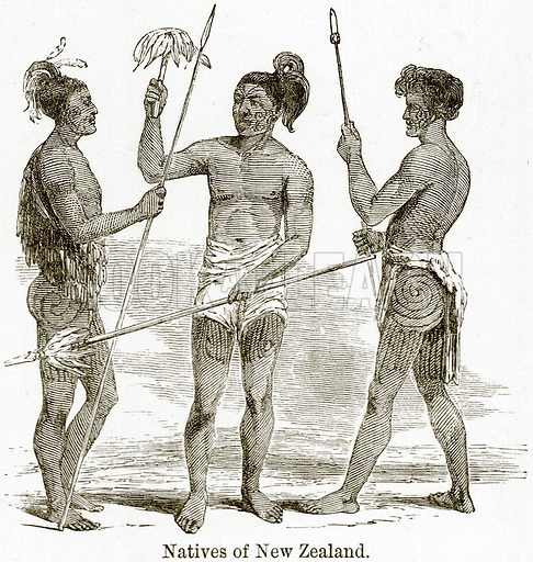 Natives of New Zealand. Illustration from The World As It Is by George Chisholm (Blackie, 1884).