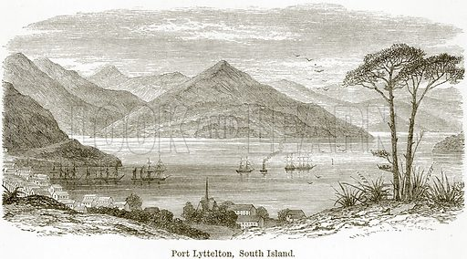 Port Lyttelton, South Island. Illustration from The World As It Is by George Chisholm (Blackie, 1884).