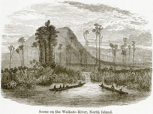 Scene on the Waikato River, North Island. Illustration from The World As It Is by George Chisholm (Blackie, 1884).