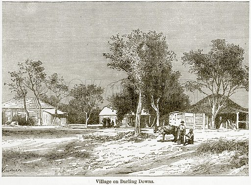 Village on Darling Downs. Illustration from The World As It Is by George Chisholm (Blackie, 1884).