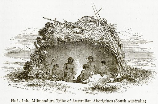 Hut of the Milmendura Tribe of Australian Aborigines (South Australia). Illustration from The World As It Is by George Chisholm (Blackie, 1884).
