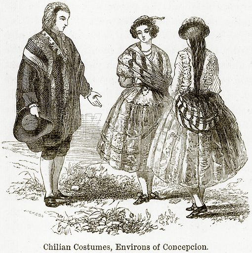 Chilian Costumes, Environs of Concepcion. Illustration from The World As It Is by George Chisholm (Blackie, 1884).