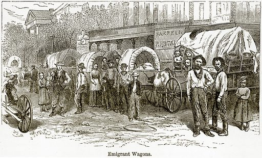 Emigrant Wagons. Illustration from The World As It Is by George Chisholm (Blackie, 1884).