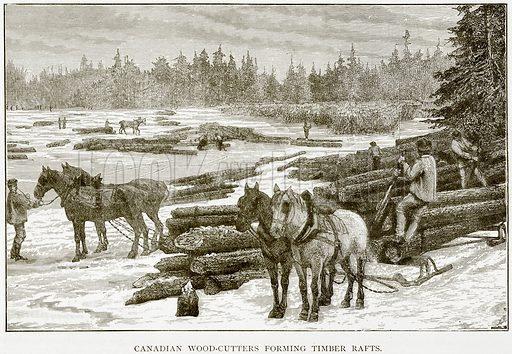 Canadian Wood-Cutters forming Timber Rafts. Illustration from The World As It Is by George Chisholm (Blackie, 1884).