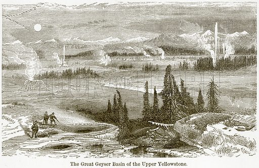 The Great Geyser Basin of the Upper Yellowstone. Illustration from The World As It Is by George Chisholm (Blackie, 1884).