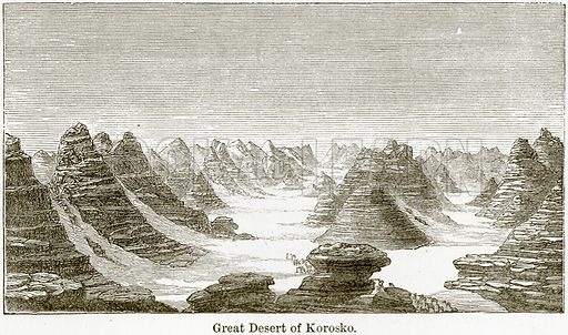 Great Desert of Korosko. Illustration from The World As It Is by George Chisholm (Blackie, 1884).