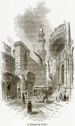 A Street in Cairo. Illustration from The World As It Is by George Chisholm (Blackie, 1884).