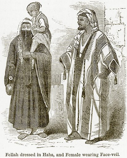 Fellah dressed in Haba, and Female wearing Face-Veil. Illustration from The World As It Is by George Chisholm (Blackie, 1884).