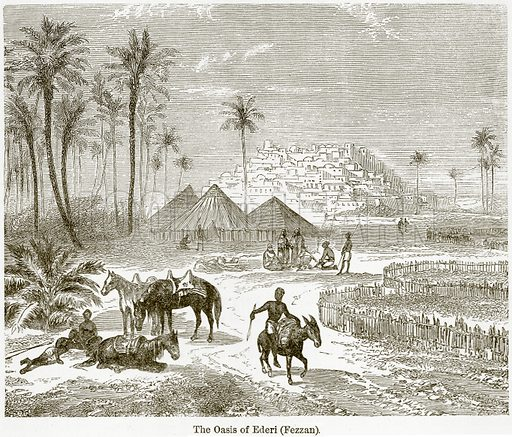 The Oasis of Ederi (Fezzan). Illustration from The World As It Is by George Chisholm (Blackie, 1884).