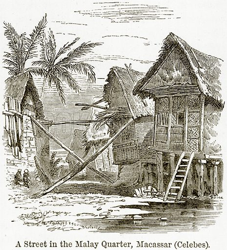 A Street in the Malay Quarter, Macassar (Celebes). Illustration from The World As It Is by George Chisholm (Blackie, 1884).