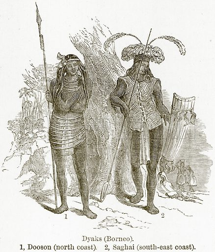 Dyaks (Borneo). 1, Dooson (North Coast). 2, Saghai (South-East Coast). Illustration from The World As It Is by George Chisholm (Blackie, 1884).