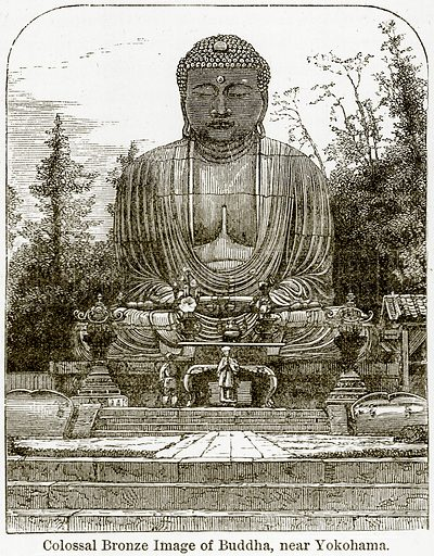Colossal Bronze Image of Buddha, near Yokohama. Illustration from The World As It Is by George Chisholm (Blackie, 1884).