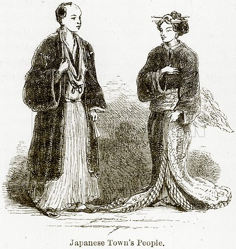 Japanese Town's People. Illustration from The World As It Is by George Chisholm (Blackie, 1884).