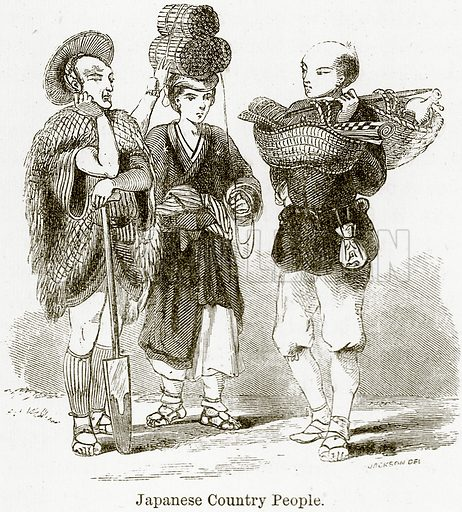 Japanese Country People. Illustration from The World As It Is by George Chisholm (Blackie, 1884).