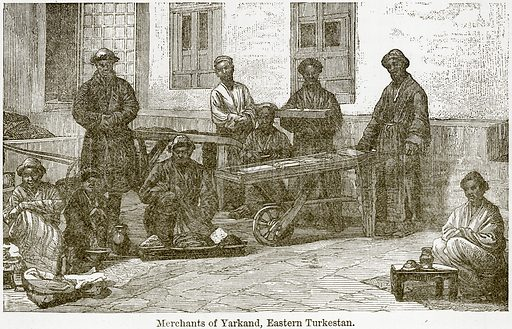 Merchants of Yarkand, Eastern Turkestan. Illustration from The World As It Is by George Chisholm (Blackie, 1884).